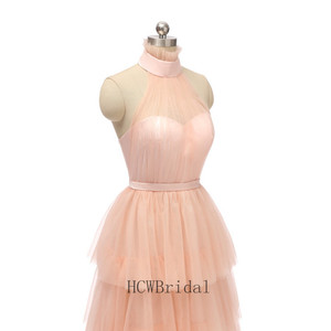 Image 5 - 2020 New Tiered Tulle Long Evening Dress High Neck A Line Tea Length High Quality Formal Prom Gowns Cheap Women Party Dresses