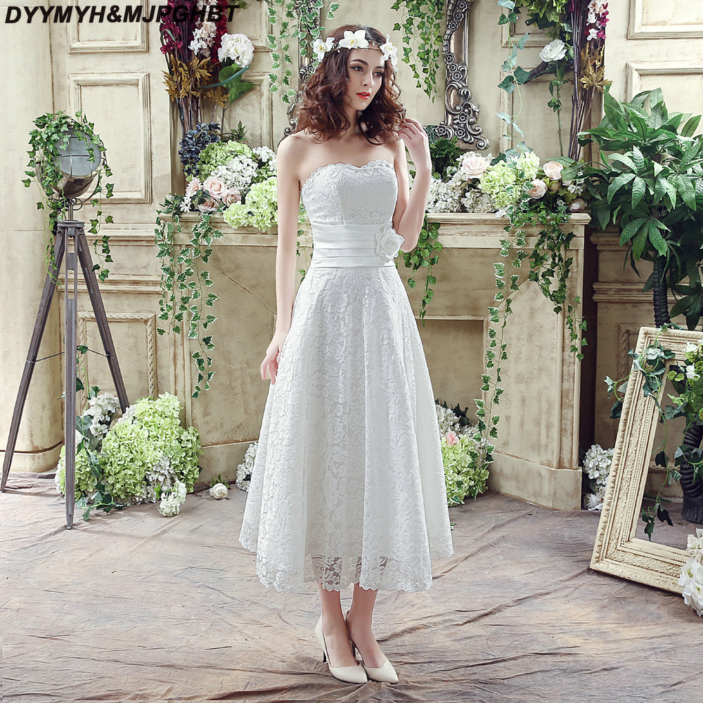 Simple Ankle Length Lace Wedding Dresses White Three: Aliexpress.com : Buy Simple Short Lace Bridal Wedding