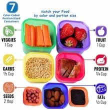 Пластиковая коробка 7 шт./компл. Ланчбокс многоцветная часть управления Комплект контейнеров BPA бесплатные крышки с маркировкой бенто коробка для хранения еды содержит