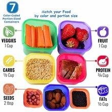 Caja de plástico 7 unids/set fiambrera Multi Color porción recipiente de control Kit BPA tapas libres etiquetadas Bento caja de almacenamiento de alimentos contiene