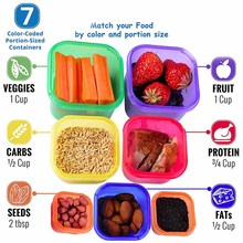 Plastic box 7 Pieces/set lunchbox Multi Color Portion Control Container Kit BPA Free Lids Labeled Bento Box Food Storage Contain