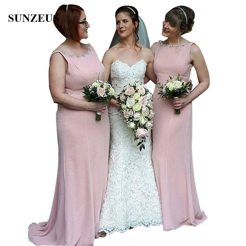 Strass perles encolure dégagée longue rose mousseline de soie robes de demoiselle d'honneur 2018 robes de soirée vestido de festa longo para casamento