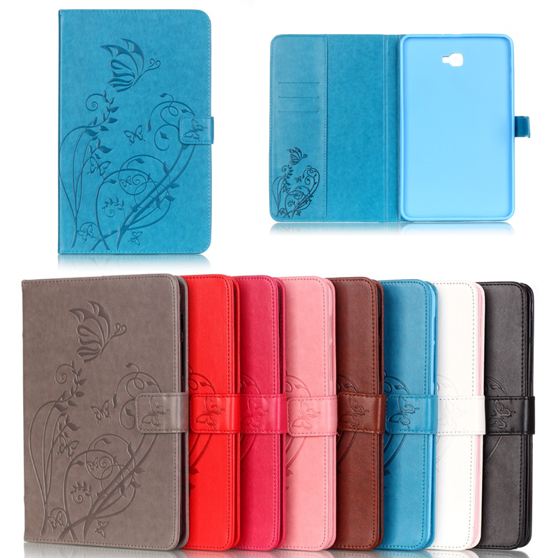 Fashion Flower Butterfly Flip Leather PU Case Cover For Samsung Galaxy Tab A 10.1 2016 T585 T580 T580N Tablet Case Stand Fundas