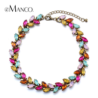 Horse Eye Crystal Colorful Necklace Charming Crystal Chokers Copper Titanium Necklace Collier 2015 Femme EManco