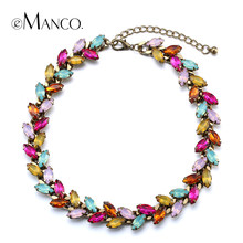 eManco Horse eye crystal colorful necklace charming crystal chokers copper titanium necklace collier femme NL13118(China)