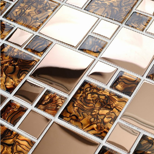 Rose Gold Metal Glass Tile Kitchen Backsplash Countertops