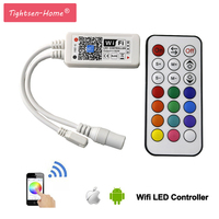Wireless WiFi LED RGBW Controller DC 12V 24V IOS Android APP 21 Key RF Remote Controler