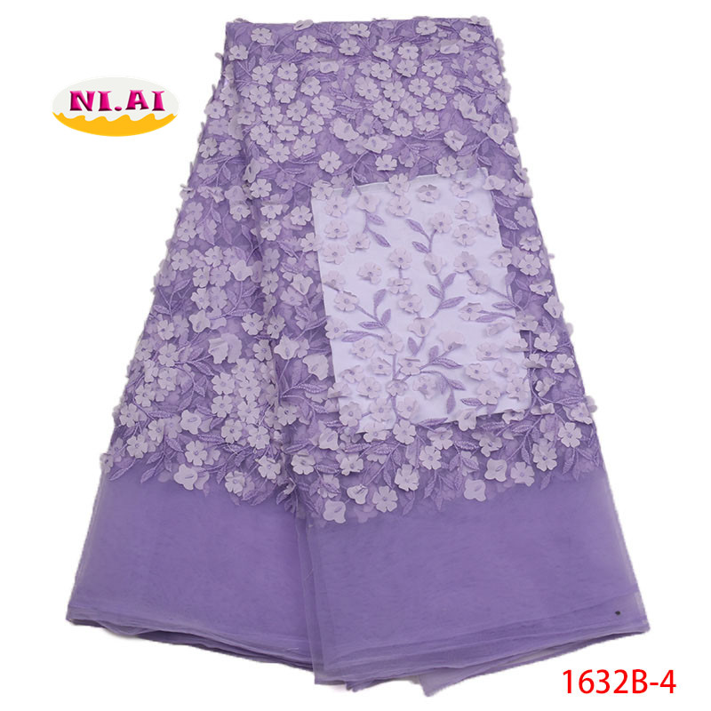 Lilac African Lace Fabric 2018 High Quality Lace 3D Lace African Dresses For Women Africa Net