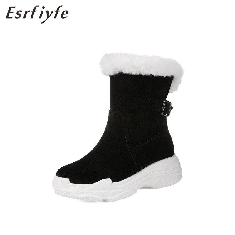 noir Beige Fourrure Plat Dames Hiver Femme Fausse Chaud Neige Noir En Femmes Chaussures 2018 Mode forme Esrfiyfe Cheville Plate Bottes aHUqfw