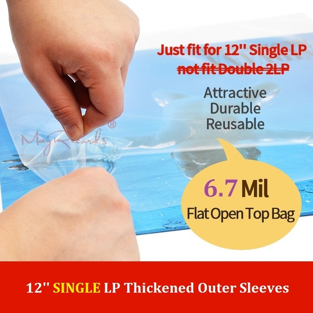 """25 플랫 오픈 탑 가방 6.7 mil 강한 커버 플라스틱 비닐 레코드 외부 슬리브 12 """"싱글 lp (더블 2lp에 맞지 않음)"""