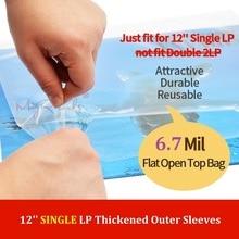 25 platte Open Top Bag 6.7 Mil Sterke Cover Plastic Vinyl Record Buitenste Mouwen voor 12 ENKELE LP (niet Fit Double 2LP)
