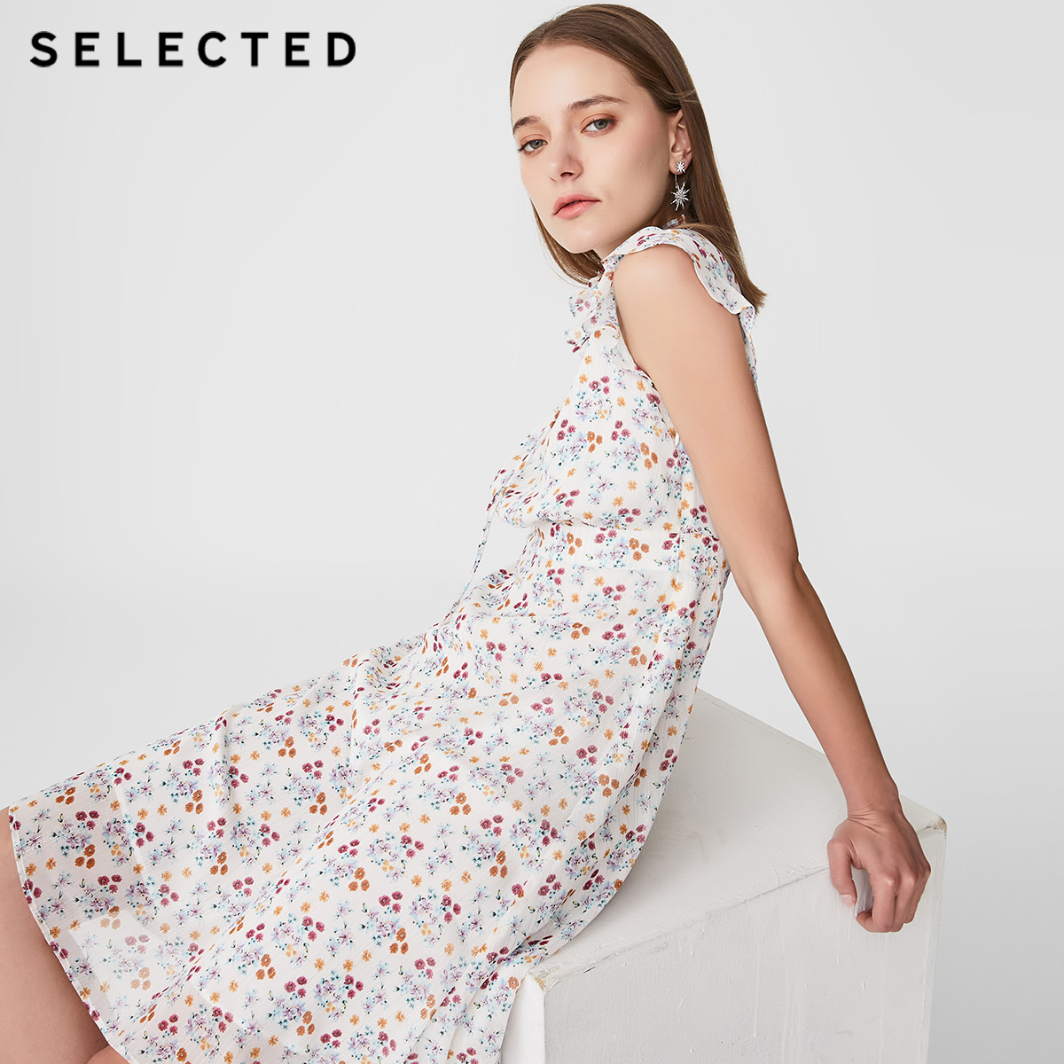 SELECTED Frilled Edges Print Lace-up Dress S 41922J543