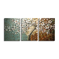Hand Painted Abstract Modern Art Decor Flower Palette Knife Oil Painting Canvas 3 Panels Wall Art
