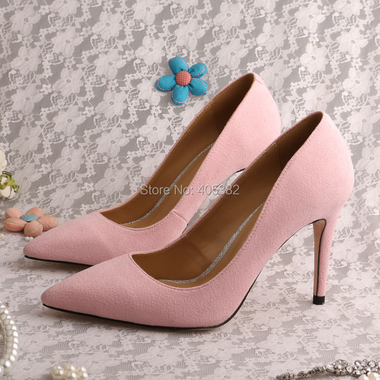 brand name high heel shoes pink color pointed toe