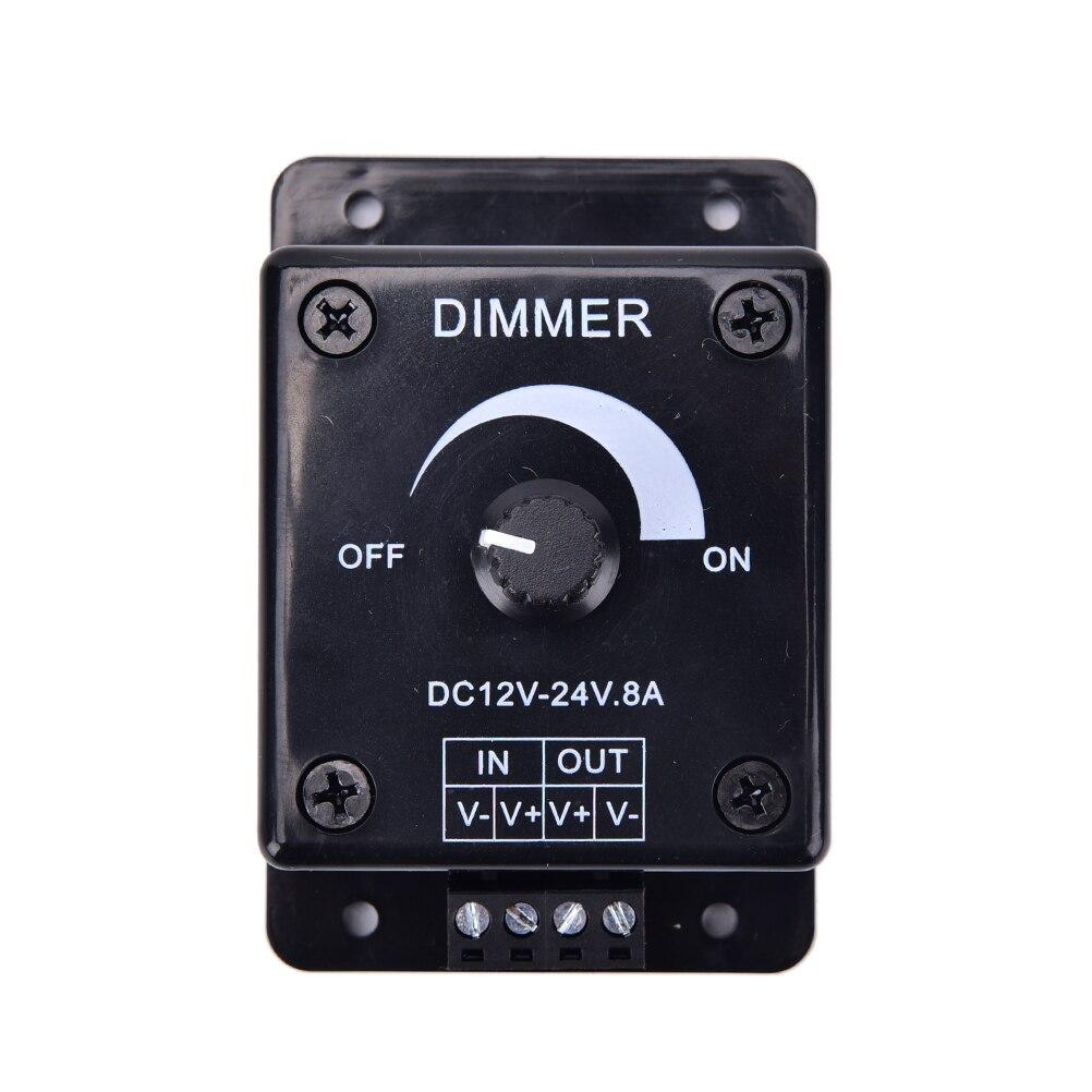 Brightness Lamp Bulb Strip Driver Single Color Light Power Supply Controller Black Dc 12v 24v 8a Adjustable Led Dimmer Switch