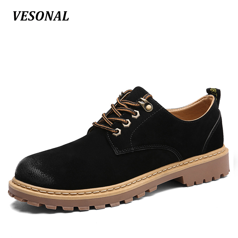 VESONAL Autumn Winter Genuine Leather Casual Men Shoes Oxfords Thick Sole Vintage Classic Male Platform Footwear Mens black 88-2