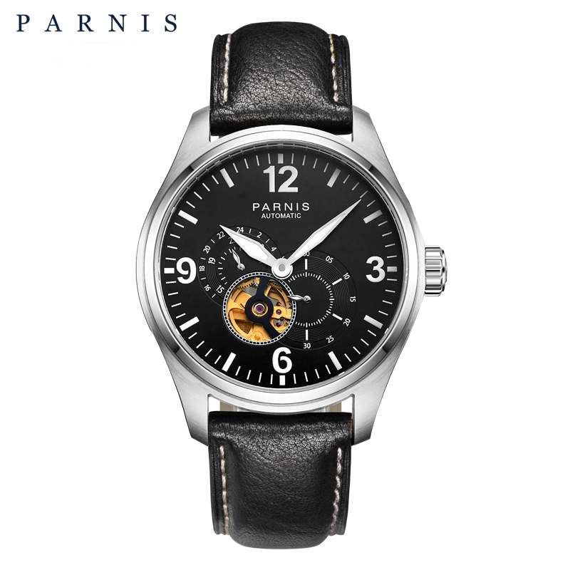 2017 Newly Issue Parnis Watches Men Skeletons Luminous Leather 12 24 Hours Mechanical Mens Skeleton Watch