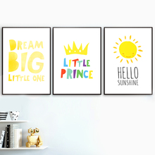 Dream Big Little One princess sun Nursery Nordic Posters And Prints Wall Art Canvas Painting Pictures Baby Kids Room Decor