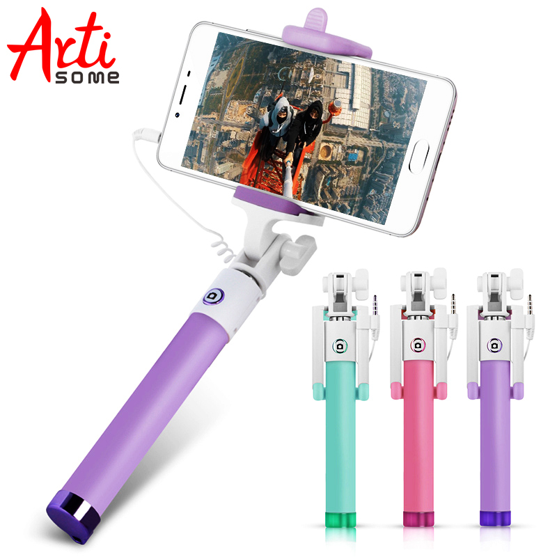 ARTISOME Universal Selfie Stick For iPhone 5 5S 6 6S Plus Wired Mini Palo Stick Selfie Monopod Self Portrait Smartphone Android