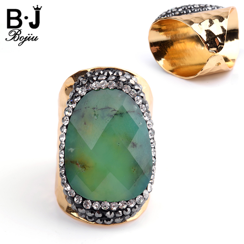 Bojiu Natural Stone Ring Zircon Electroplated Gold-color Adjustable Size New Fashion Jewelry Rings For Women bague femme RI023