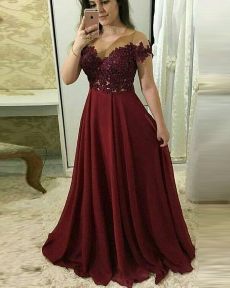 Ruby Bridal 2019 New Vestido De Noite Long A-line Burgundy Chiffon Appliques   Evening     Dresses   With Straps Sexy Party Gown PW955
