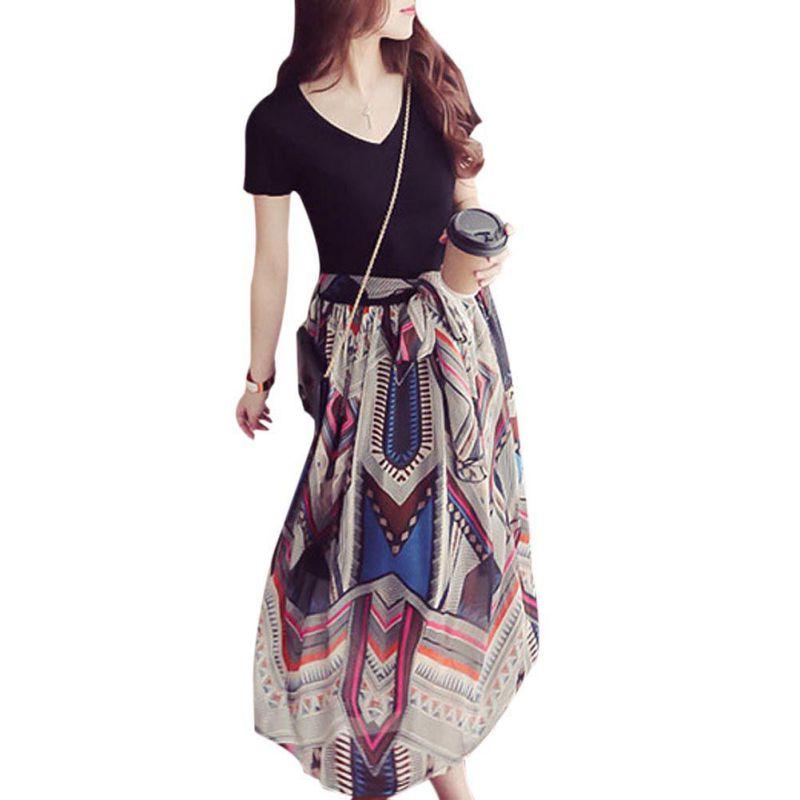 Style Fashion Women Plus Size Chiffon V Neck Maxi Dresses Ladies Fake Two Piece Floral Long Dresses a-line
