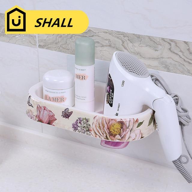 SHALL European Melamine Hair Dryer Holder Cosmetics Storage Shelf Non-trace Stick Suction Shelf Supporter Wall Hanging Rack
