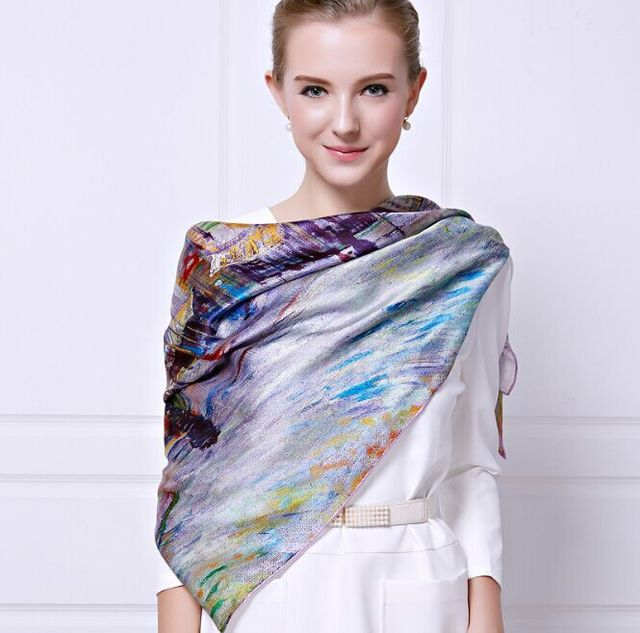 [Ode To Joy] Vintage style luxury brand designer silk large square scarves for women pretty foulard satin oil print neck scarf