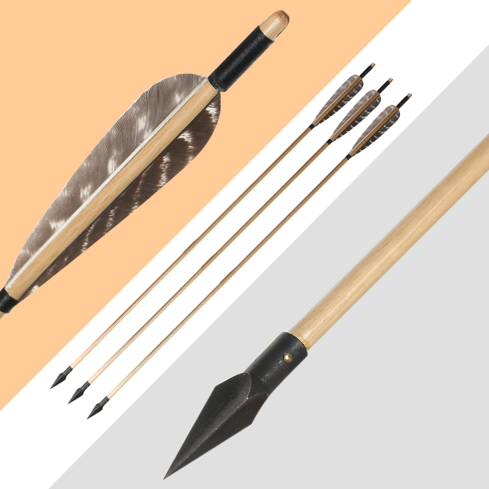 12pcs Archery Wooden Arrows With Steel Broadheads Real Feather For Adult Traditional Recurve Bow Longbow Hunting Shooting Sports