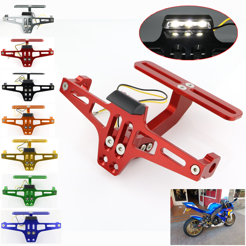 For YAMAHA YZF R3 R6 R1 R1M YZF R125 R25 R15 FZ6R XJ6 XJR 1300 Registration License Plate Holder Rear Tidy Fender Eliminator Kit in License Plate from Automobiles Motorcycles
