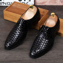 men's casual business wedding formal dress breathable cow leather shoes weave lace-up oxfords shoe gentleman breathable zapatos