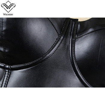 Wechery Women Leather Bra Tops Gothic Push Up Bra Corsage Sexy lingerie  Corset Hot Fashion Party Bra Club tops Wear Plus Size 4