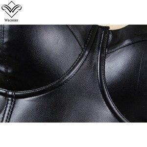 Image 4 - Wechery Women Leather Bra Tops Gothic Push Up Bra Corsage Sexy lingerie  Corset Hot Fashion Party Bra Club tops Wear Plus Size