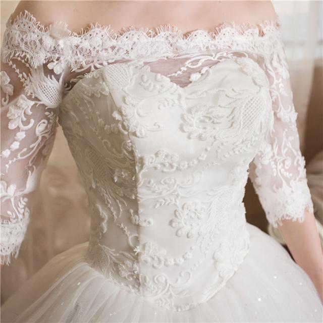 Plus size Boat neck White Lace Sleevs wedding Dresses Princess Bride Gowns Frock Vestidos De Novia HS248