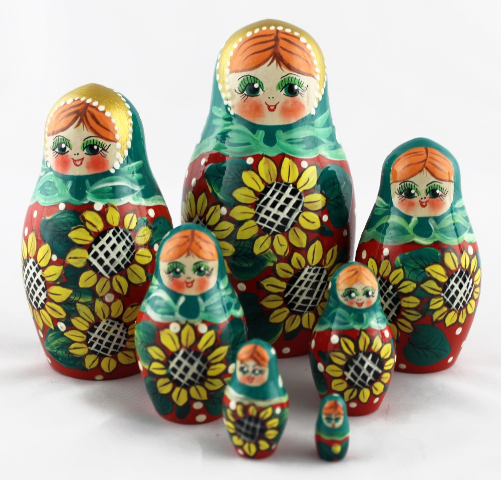 Russian Nesting Doll with Sunflower Matryoshka Wooden Egg Ornament 3 Inches