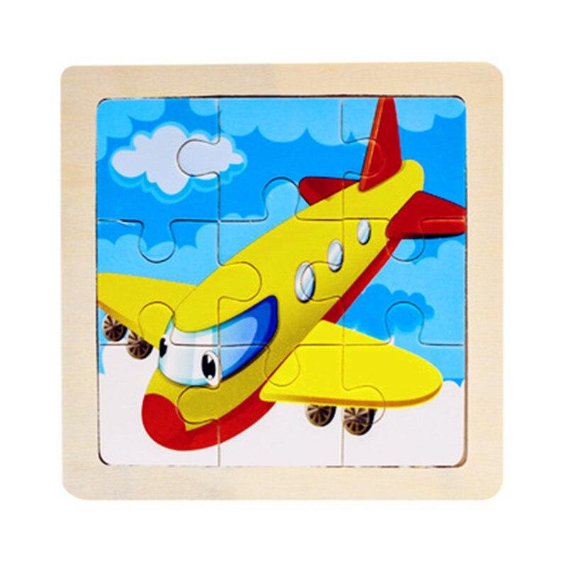 Мини Размер 11*11 см детская игрушка деревянная головоломка деревянная 3D головоломка для детей Детские Мультяшные животные/дорожные Пазлы обучающая игрушка - Цвет: Синий