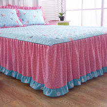 3PC Luxury Quilted Bedding Bed Skirt Set Velvet Thick Bedspread Bed Pillowcase Princess Bedclothes Bed Cover King Queen For Home