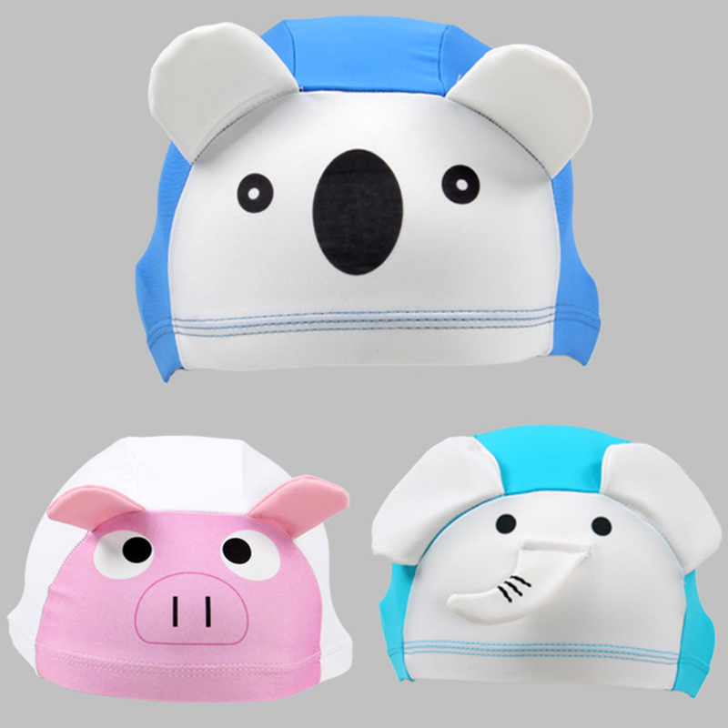 XREOUGA New 3D Cute Animal Lycra Fabric Protect Ears Long Hair Sports Swim Pool Hat Swimming Cap For Kids