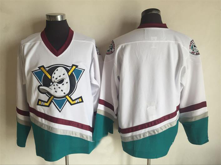 Mens Mighty Ducks Jersey Blank Stitched Mighty Ducks Hockey Jersey White Black Throwback Hockey Jersey S-3XL