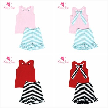 Kaiya Angel Toddler Girls Summer Clothing Set Light Pink Cotton Tops Shorts with Green Bow Boutique Kids Clothes 4th of July