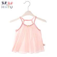 Купить с кэшбэком HHTU Summer Baby Vest Strap T-shirt Tops Camisole Cotton for Girls Thin Casual Toddler Baby Clothes Soft Kid Clothing