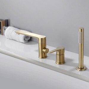 Image 4 - Gold brush Bathtub faucet mixer with hand shower double function bathtub faucet set deck mounted bath shower tap MJ04112BG