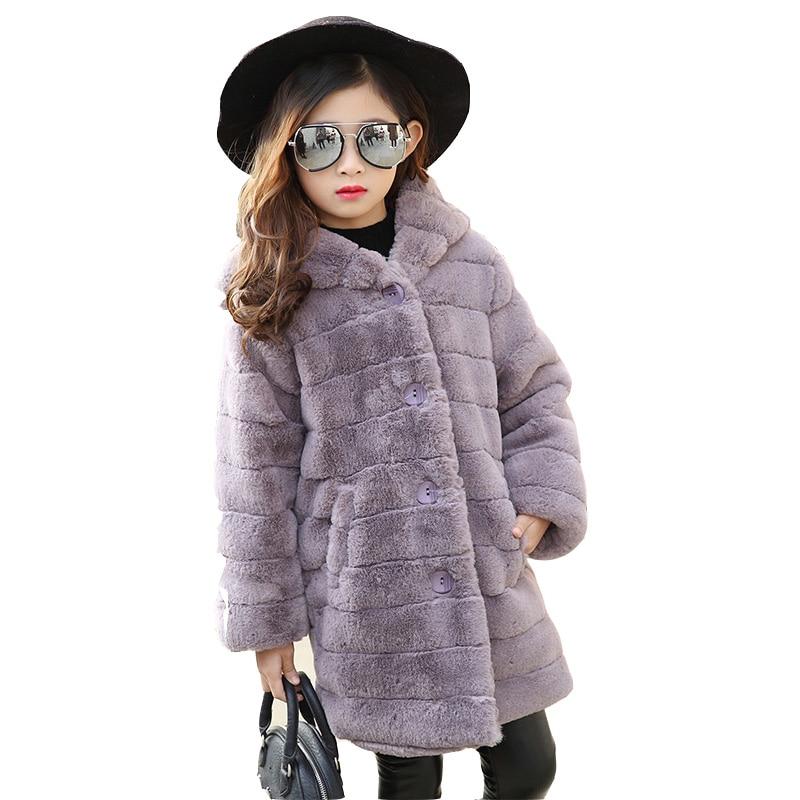 2017 Baby Girl Winter Warm Faux Fur Coat Kids Cute Hooded