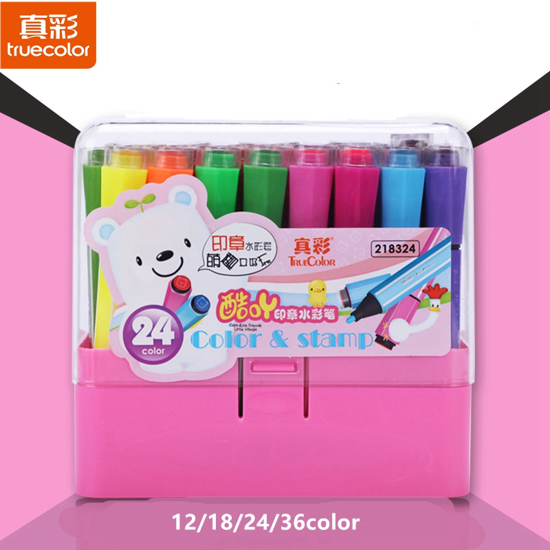 TrueColor 12/18/24/36Colors Non-toxic Crayons Cute Kids Drawing Stamp Students Seal Washable Watercolor Graffiti Art Marker Set 8004 12 in 1 kid s bathing non toxic vinyl squeaky toys set multicolored