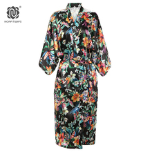 NORA TWIPS Autumn Style Long Kimono Silk Robe Women Floral Print Satin Silk Wedding Bride Bridesmaid Robe kimono seide Bathrobe(China)
