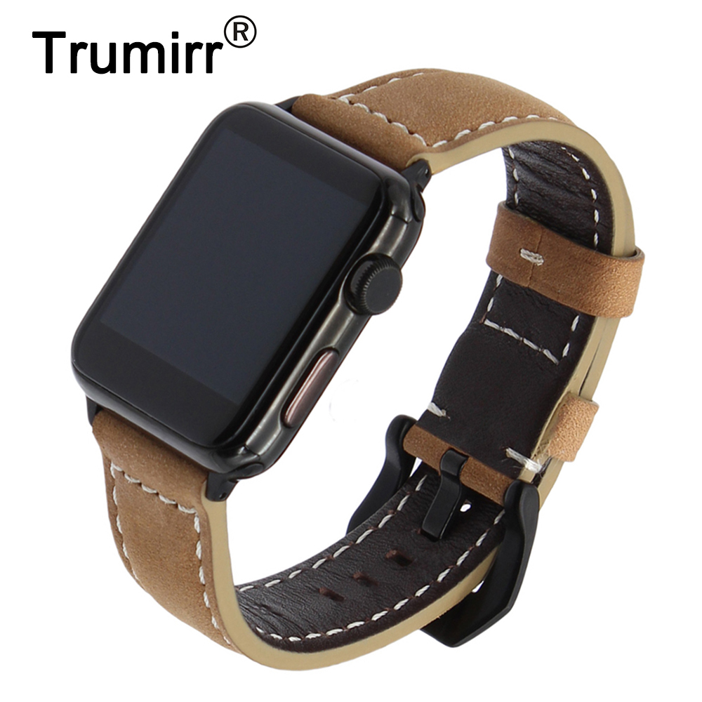 Vintage Genuine Cow Leather Watchband for iWatch Apple Watch 38mm 42mm Series 1 2 3 Band Steel Buckle Strap Wrist Bracelet Brown