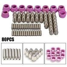 80PCS  AG60 SG55 CUT60 LGK60 Electrode Plasma Cutter Torch Consumables Nozzle CUT 60 for AG60/SG55 Pilot Arc Welding Tools