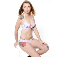 Hot Bohemia Bikini Set Girl S Sexy Printed Multi Colors Floral Swimsuit Beach Bathing Suit Halter