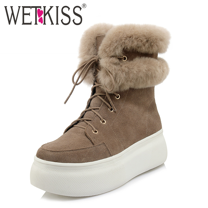 WETKISS Fashion Casual Women Ankle Boots Cross Tied Round Toe Footwear Cow Suede Fur Warm Female Boot Platform Snow Shoes Woman ribetrini 2017 fashion cow suede turned over edge ankle snow boots sewing warm fur platform low flat women shoes size 34 39