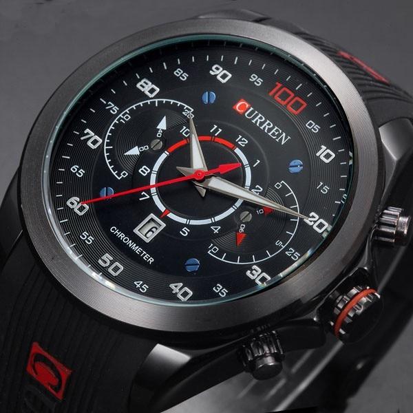 יוקרה curren מותג גברים ספורט צבאי שעונים גומי האופנה קוורץ עבודת תאריך לוח שעונים מקרית שעוני יד עמיד למים 30 m